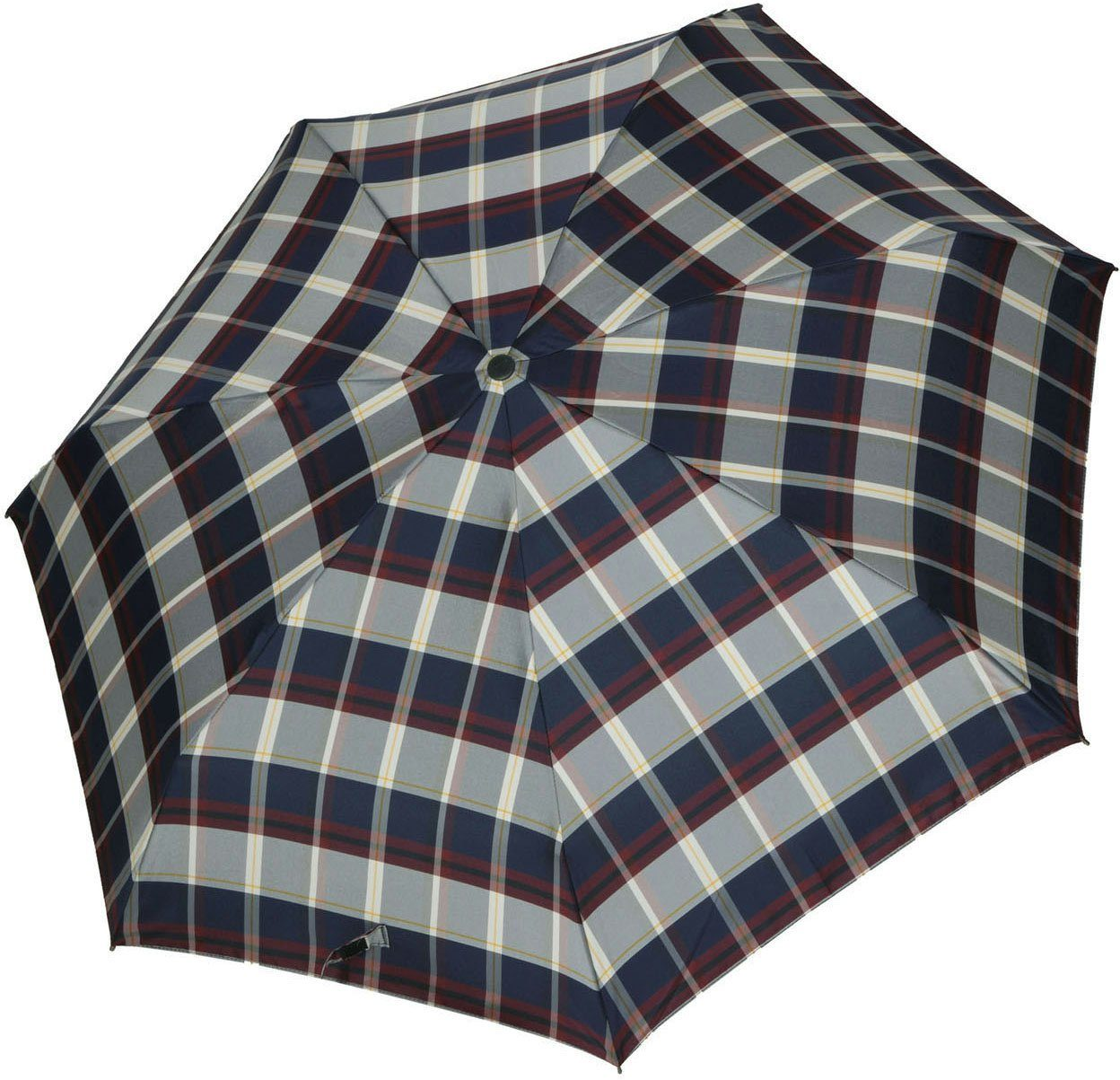 Knirps® Regenschirm, »Taschenschirm Piccolo check navy + bordeaux«