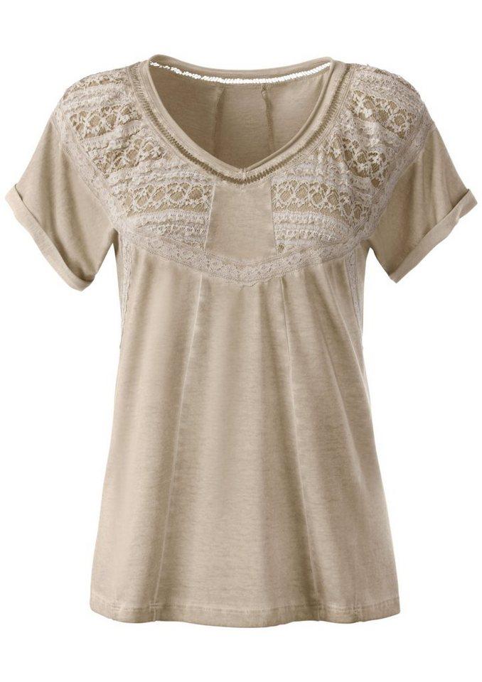 Lady Shirt mit überschnittenen Schultern in beige