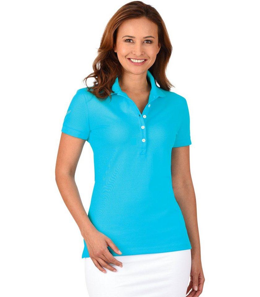 TRIGEMA Polo-Shirt mit Swarovski® Kristallen in azur