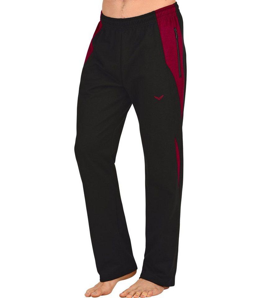 TRIGEMA Jogginghose mit Einsätzen in schwarz