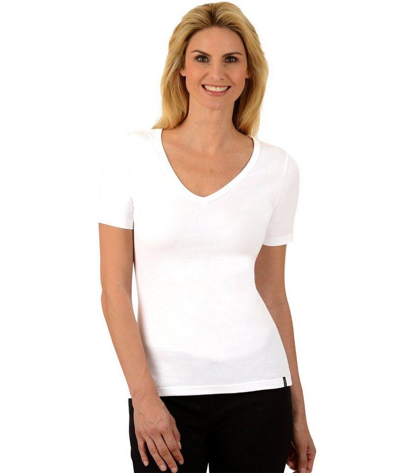 TRIGEMA V-Shirt Baumwolle/Elastan in weiss