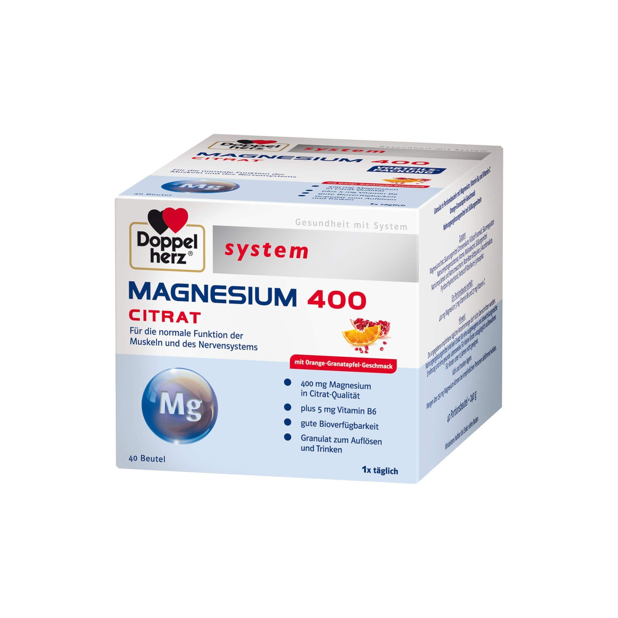 Doppelherz Magnesium 400 Citrat system , 40 St