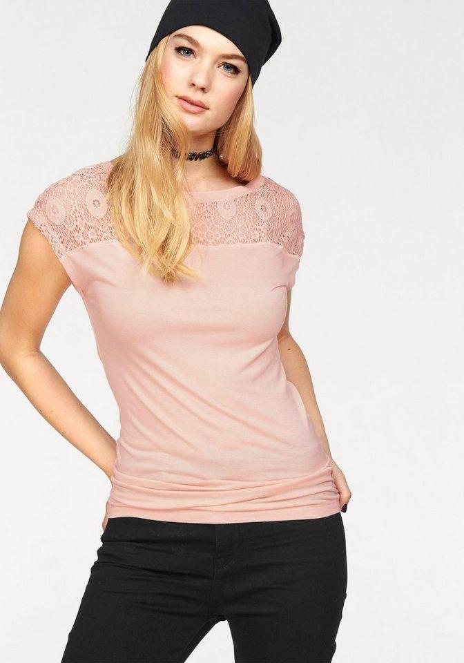Only Spitzenshirt »ROCCA« Mit Spitzeneinsatz in rosa