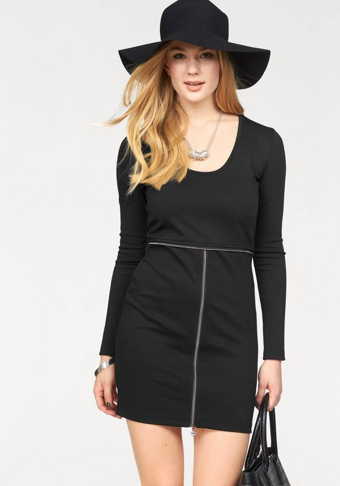 Melrose Jerseykleid mit Zier-Reißverschluss in schwarz