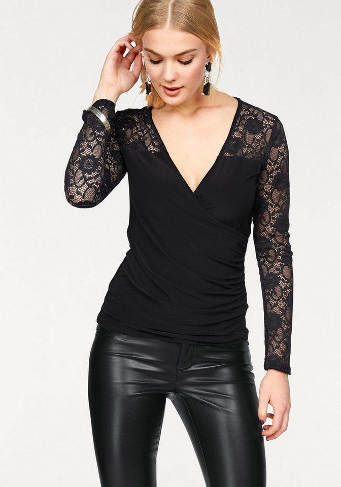 Melrose Spitzenshirt in Wickel-Optik in schwarz