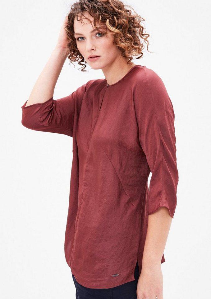 TRIANGLE Blusenshirt in Seidensatin-Optik in burgundy