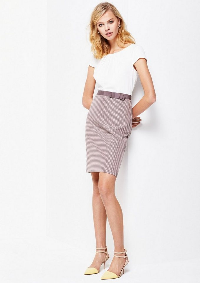 COMMA Edles Businesskleid im Materialmix in taupe vichy jacquard