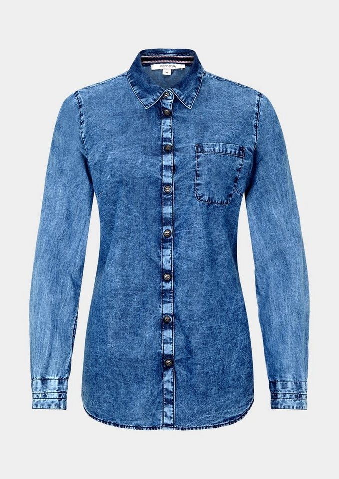 COMMA Lässige Langarmbluse in Jeansoptik in denim