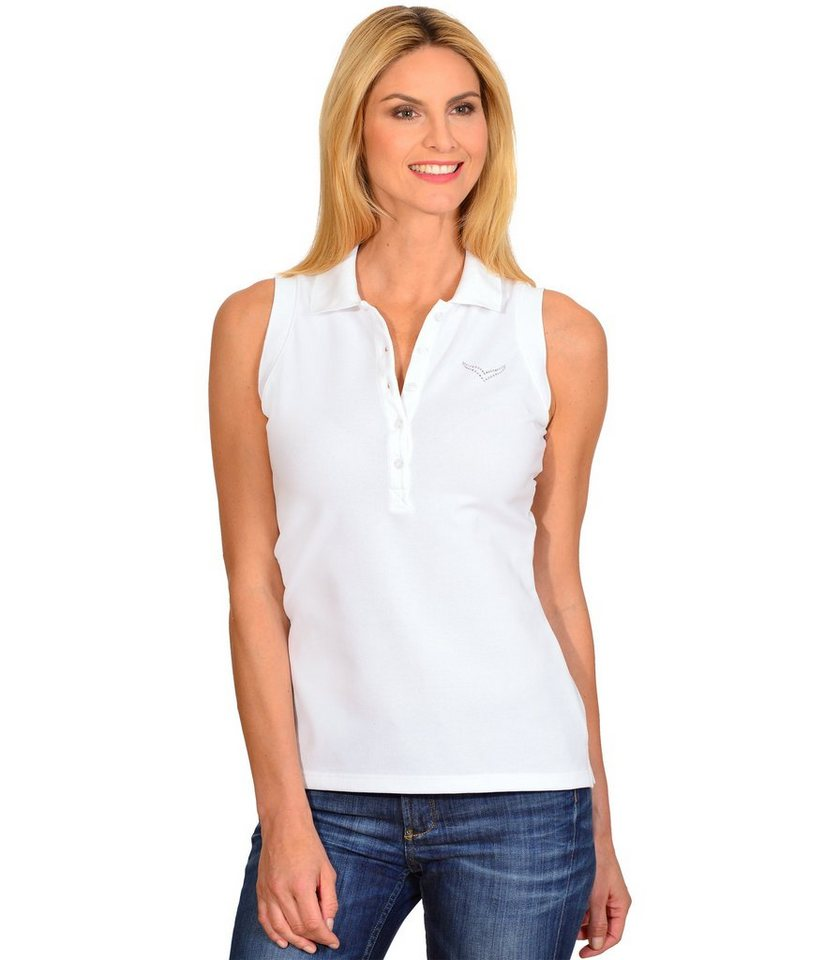 TRIGEMA Polo-Shirt mit Swarovski® Kristallen in weiss
