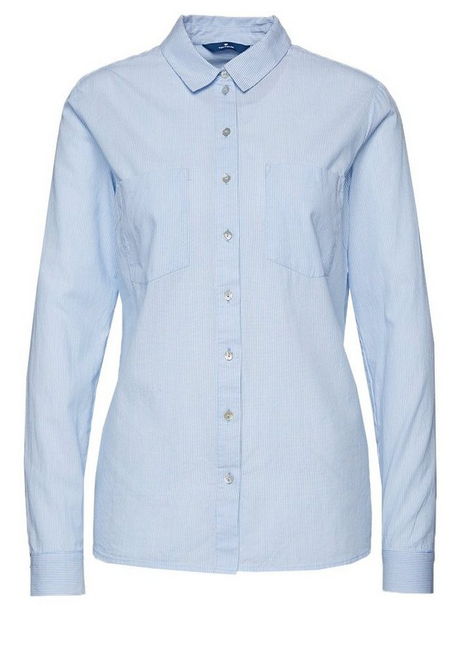 TOM TAILOR Bluse »gestreifte Bluse« in light powder blue