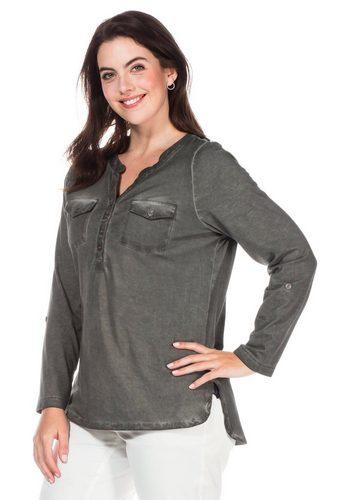 Damen sheego Casual Langarmshirt Oil -washed -Optik grau | 04054697010893