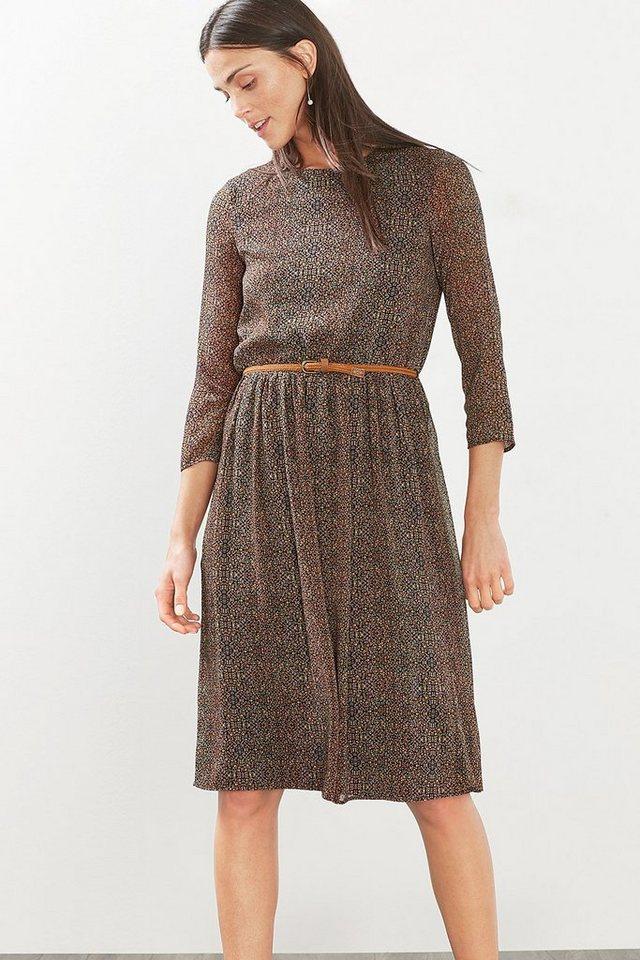 ESPRIT CASUAL Zartes Chiffon-Kleid im Millefleur-Look in BLACK