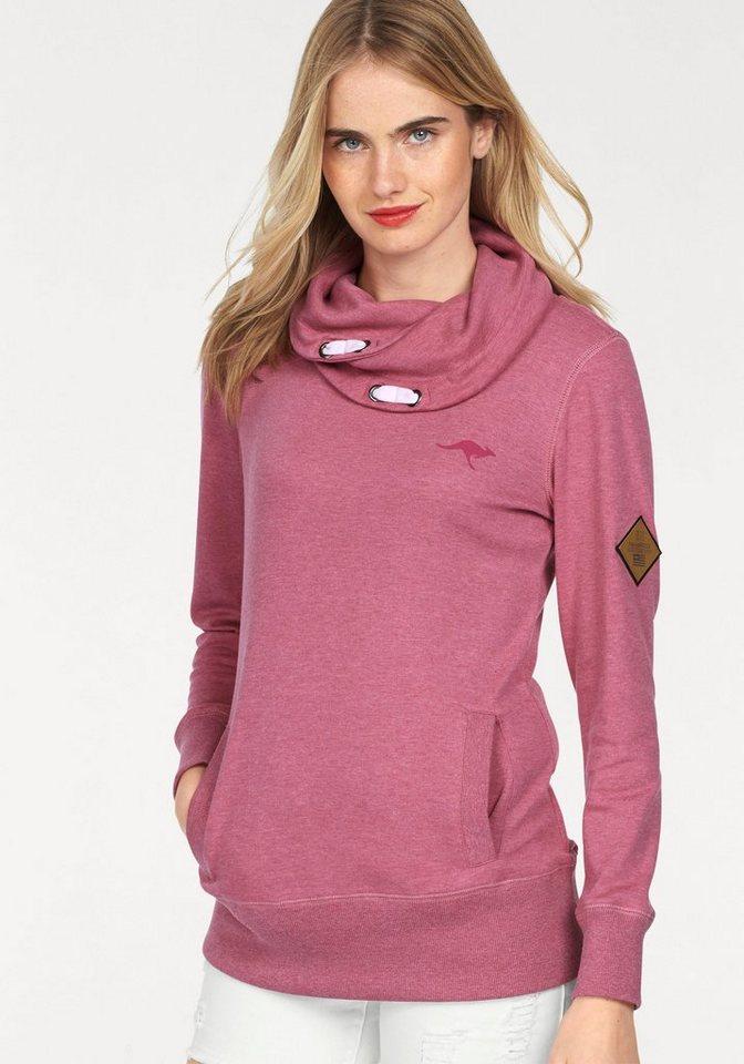 KangaROOS Sweatshirt mit weitem Schalkragen in pink-meliert