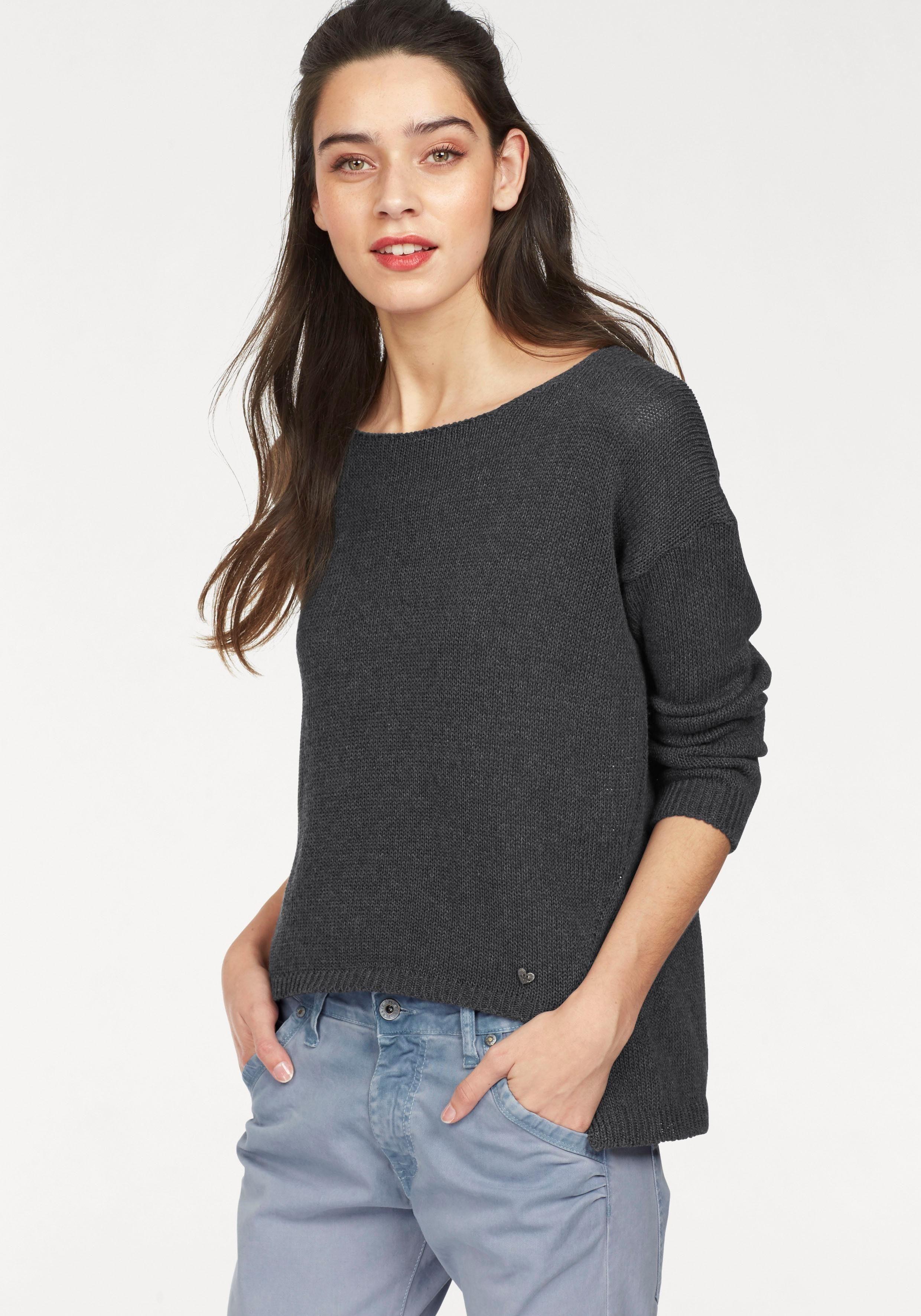 Please Jeans Rundhalspullover, mit überschnittenen Schultern