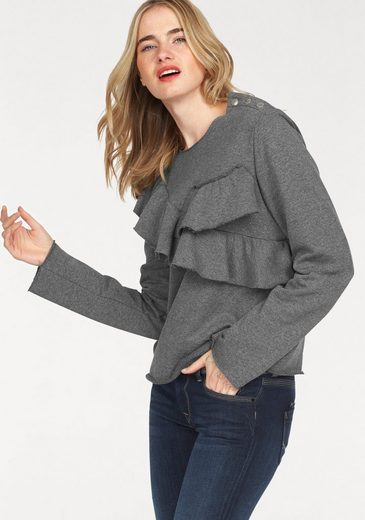 Please Jeans Sweatshirt, mit Rüschen