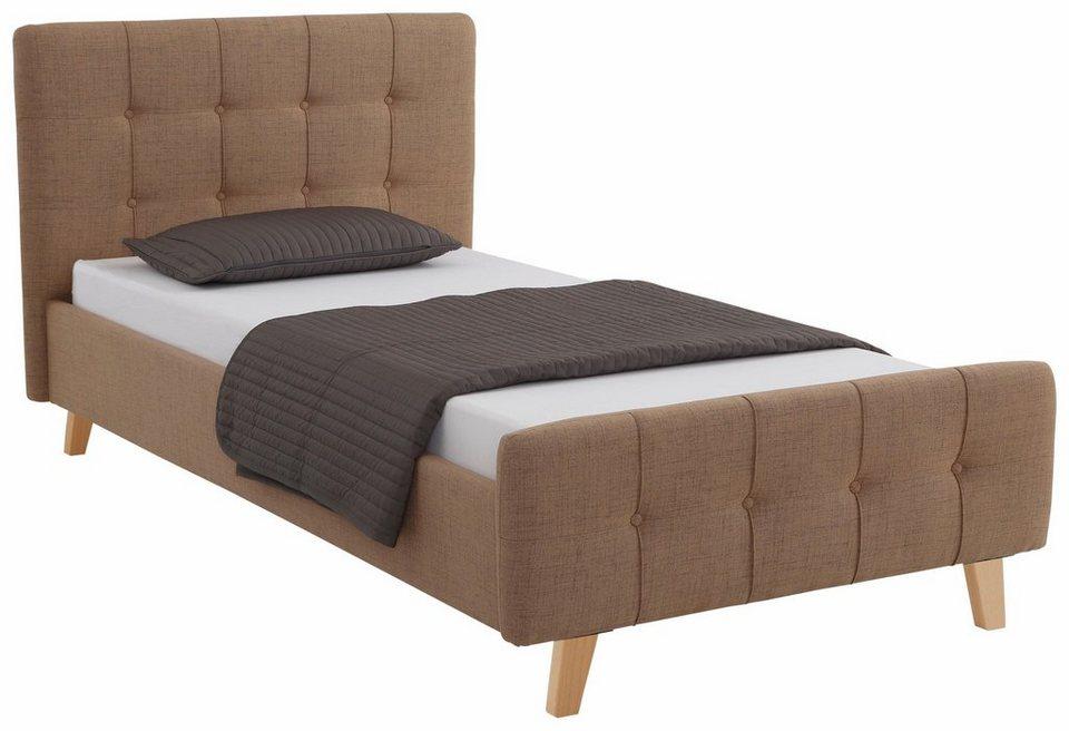 home affaire polsterbett larvik mit aufwendiger knopfheftung in 3 gr en und je 3 farben. Black Bedroom Furniture Sets. Home Design Ideas