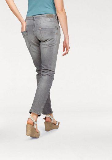 MAC Stretch-Jeans Sexy Carrot, in vintage blue mit Glitzersteinchen