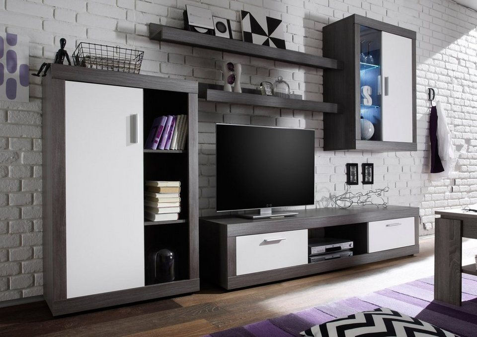 wohnwand ocean 5 tlg inkl led beleuchtung otto. Black Bedroom Furniture Sets. Home Design Ideas