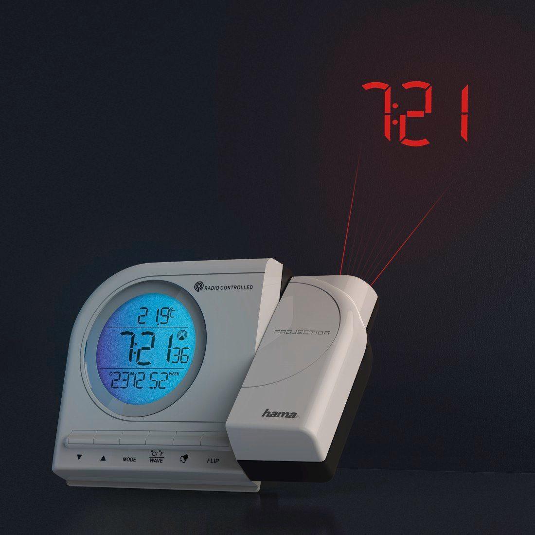 Hama Projektionswecker Funkwecker, Uhrzeit, Temperatur, Kalender »2 Weckzeiten, Snooze, digital«