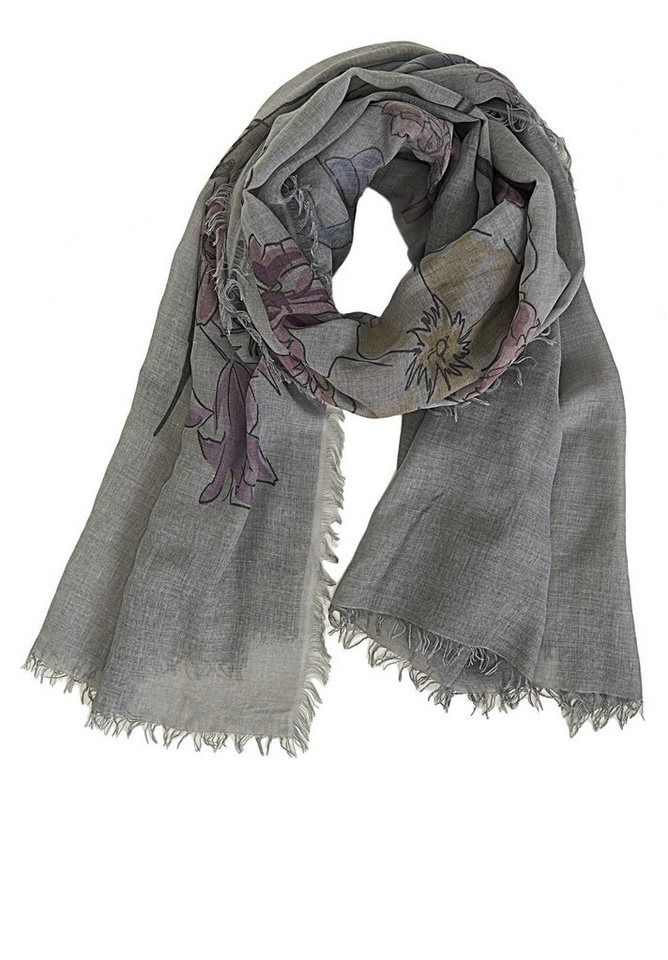 Cartoon Schal in Grey/Purple - Bunt