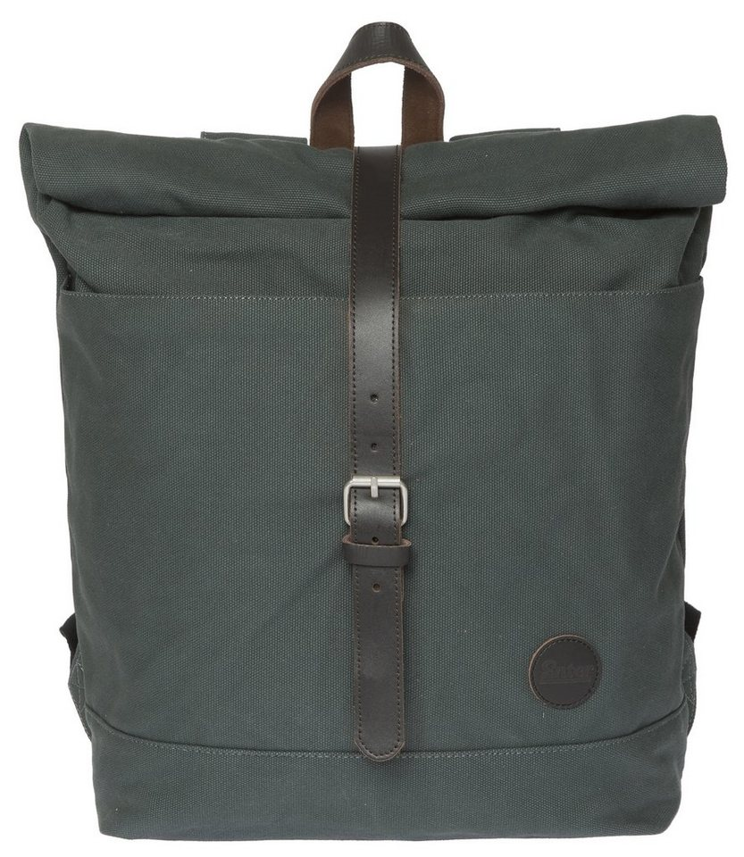 Enter Rucksack mit Aufroll-Verschluss, »Roll Top Backpack, Army Green/Dark Brown Leather« in grau/schwarz