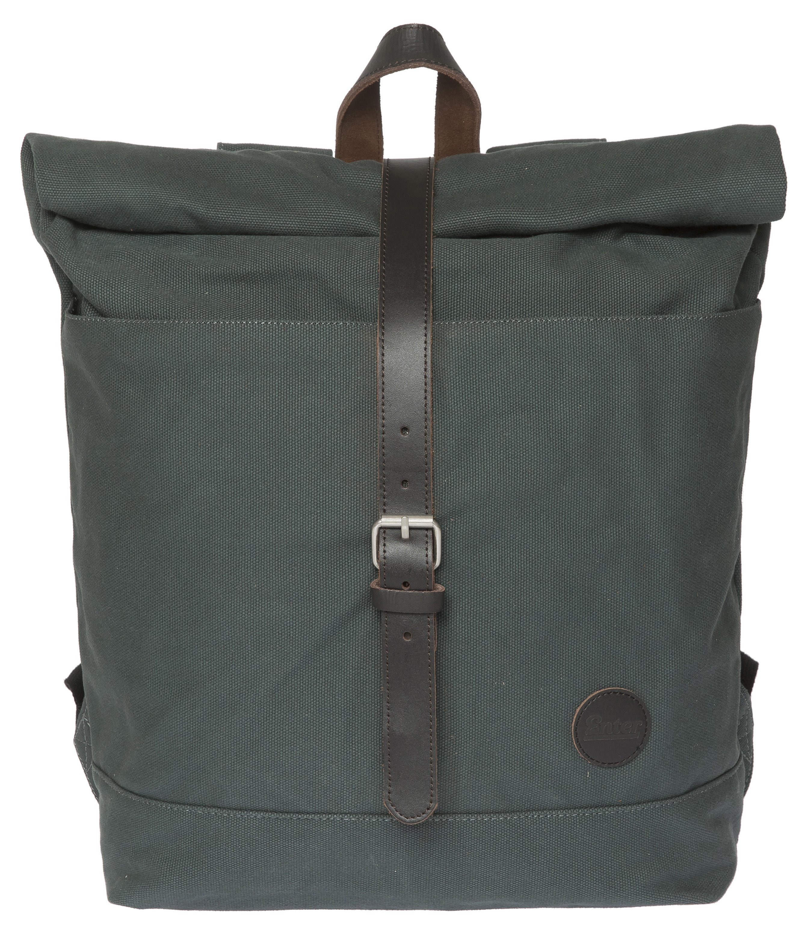 Enter Rucksack mit Aufroll-Verschluss, »Roll Top Backpack, Army Green/Dark Brown Leather«