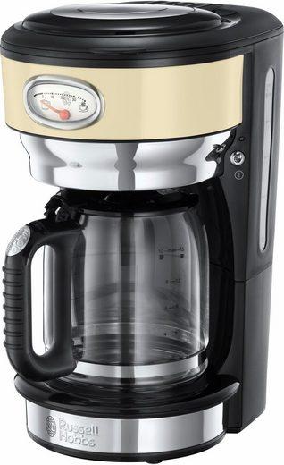 RUSSELL HOBBS Filterkaffeemaschine Retro Vintage Cream 21702-56, 1,25l Kaffeekanne, Papierfilter 1x4, mit Retro-Brühanzeige