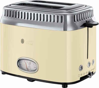 RUSSELL HOBBS Toaster 21682-56, 2 kurze Schlitze, 1300 W, Retro Vintage Cream