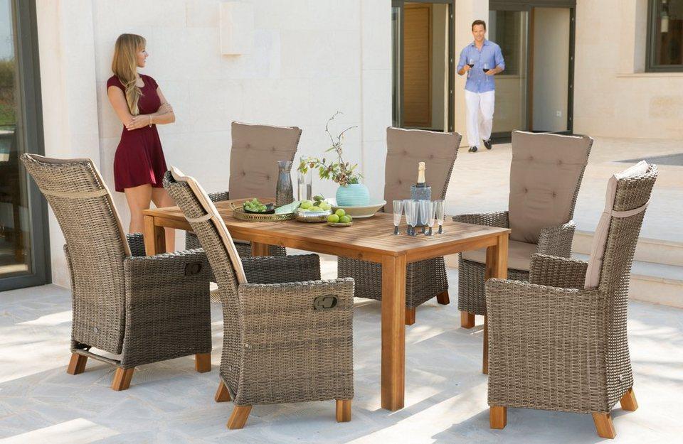Merxx Gartenmobelset Toskana Deluxe 13 Tlg 6 Hochlehner Tisch 185x90 Cm Polyrattan Akazie Online Kaufen Otto