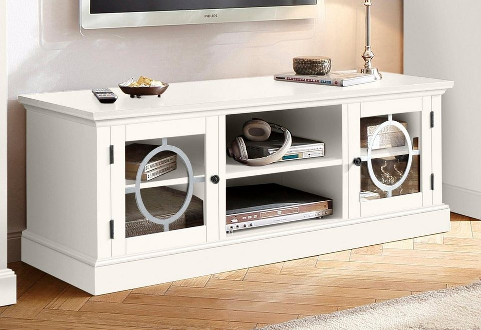 home affaire tv lowboard lugano breite 140 cm mit 2 t ren mit glaseins tzen und eisen dekor. Black Bedroom Furniture Sets. Home Design Ideas