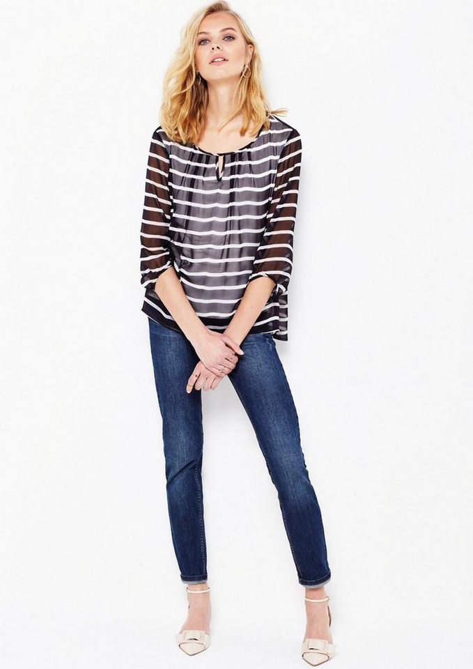 COMMA Zarte 3/4-Arm Chiffonbluse mit feinem Alloverprint in tinte stripes