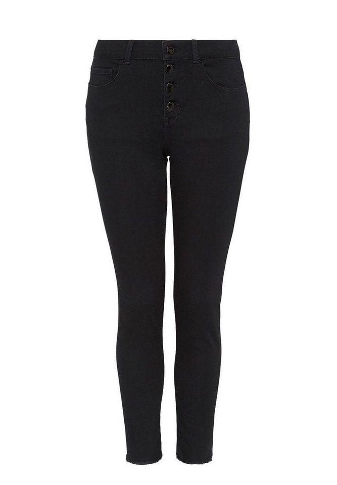 HALLHUBER Cropped Skinny-Jeans mit Knöpfen in schwarz