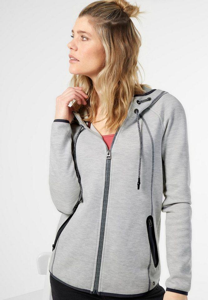 CECIL Sportive Hoody Sweatjacke in light grey melange