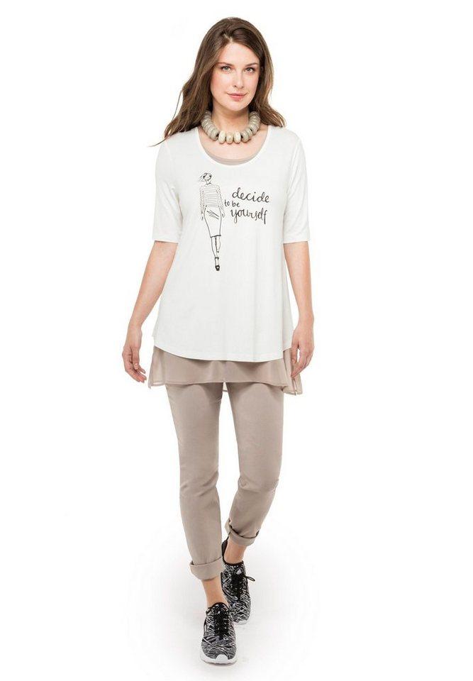 Doris Streich Jerseyshirt »DOPPELLAGIG MIT STATEMENT« in offwhite-stein