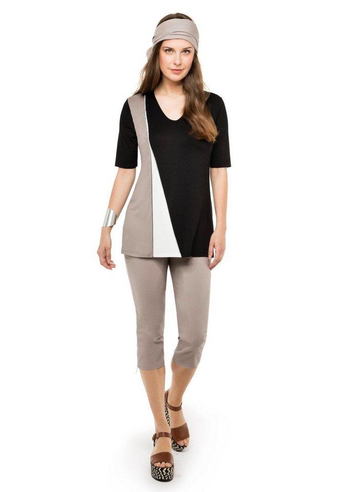 Doris Streich T-Shirt »MUSTER ASYMMETRISCH« in schwarz-stein-offwhi