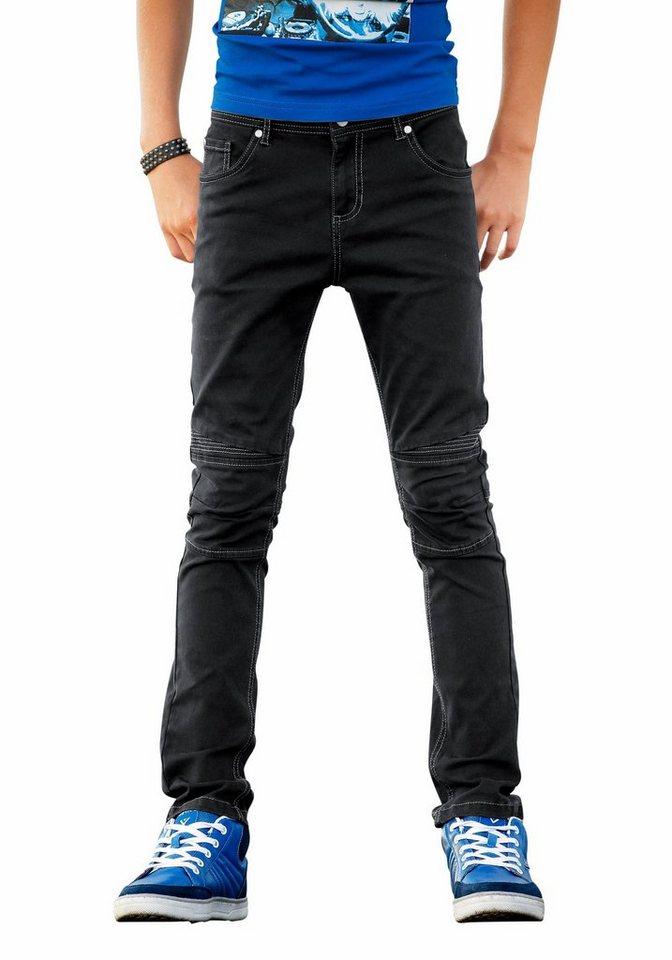 Buffalo Stretch-Hose Regular-fit mit schmalem Bein in schwarz
