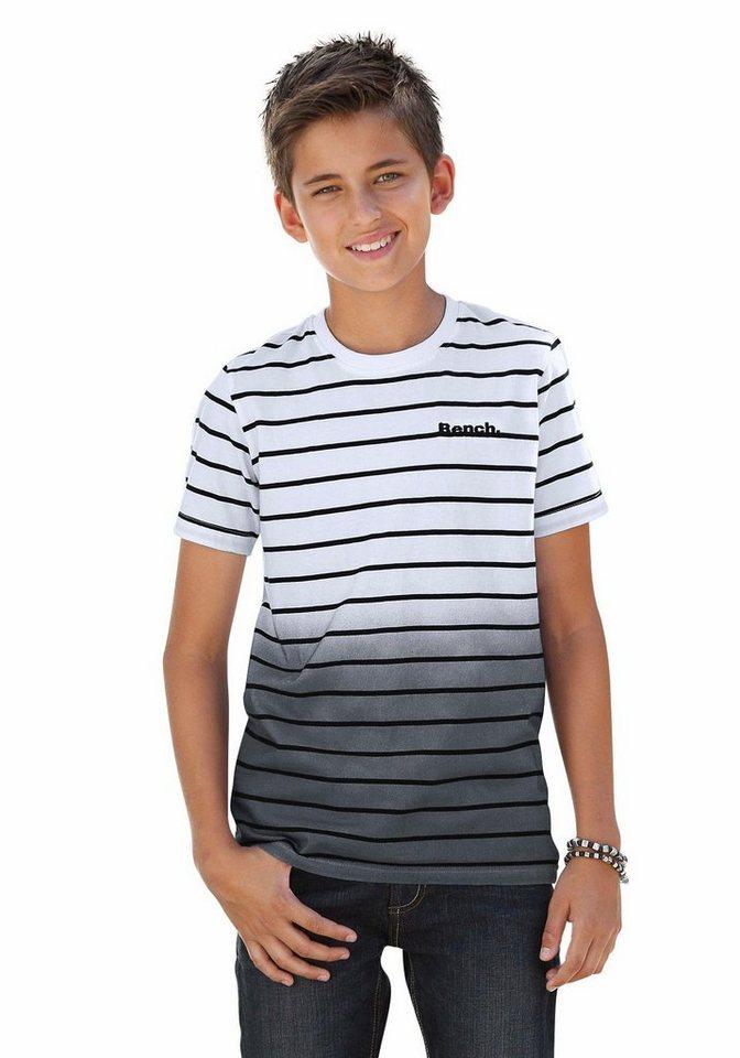 Bench T-Shirt Garngefärbter Ringel mit Farbverlauf am Saum in grau