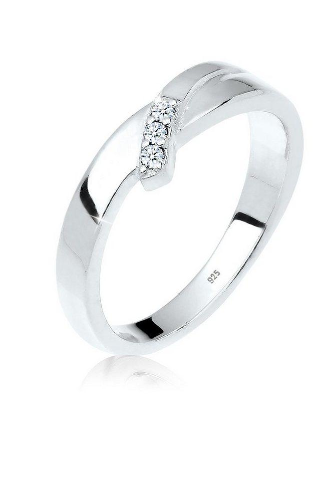 Diamore Ring »Geschenkidee Trio Diamant 0.06 ct. 925 Silber« in Weiß