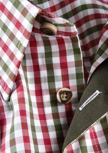 Luis Steindl Trachtenkarohemd mit geradem Saumabschluss