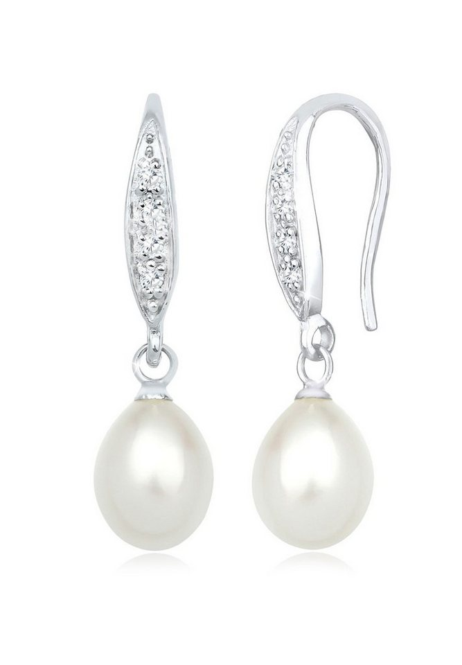 Perlu Ohrringe »Klassisch Süßwasserzuchtperle Zirkonia 925 Silber« in Weiß