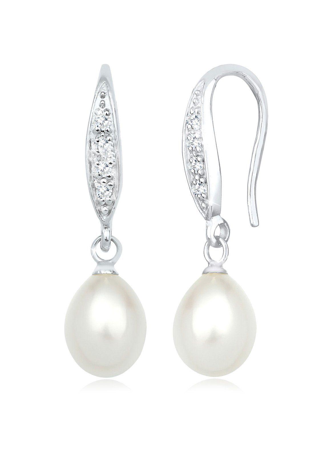 Perlu Ohrringe »Klassisch Süßwasserzuchtperle Zirkonia 925 Silber«