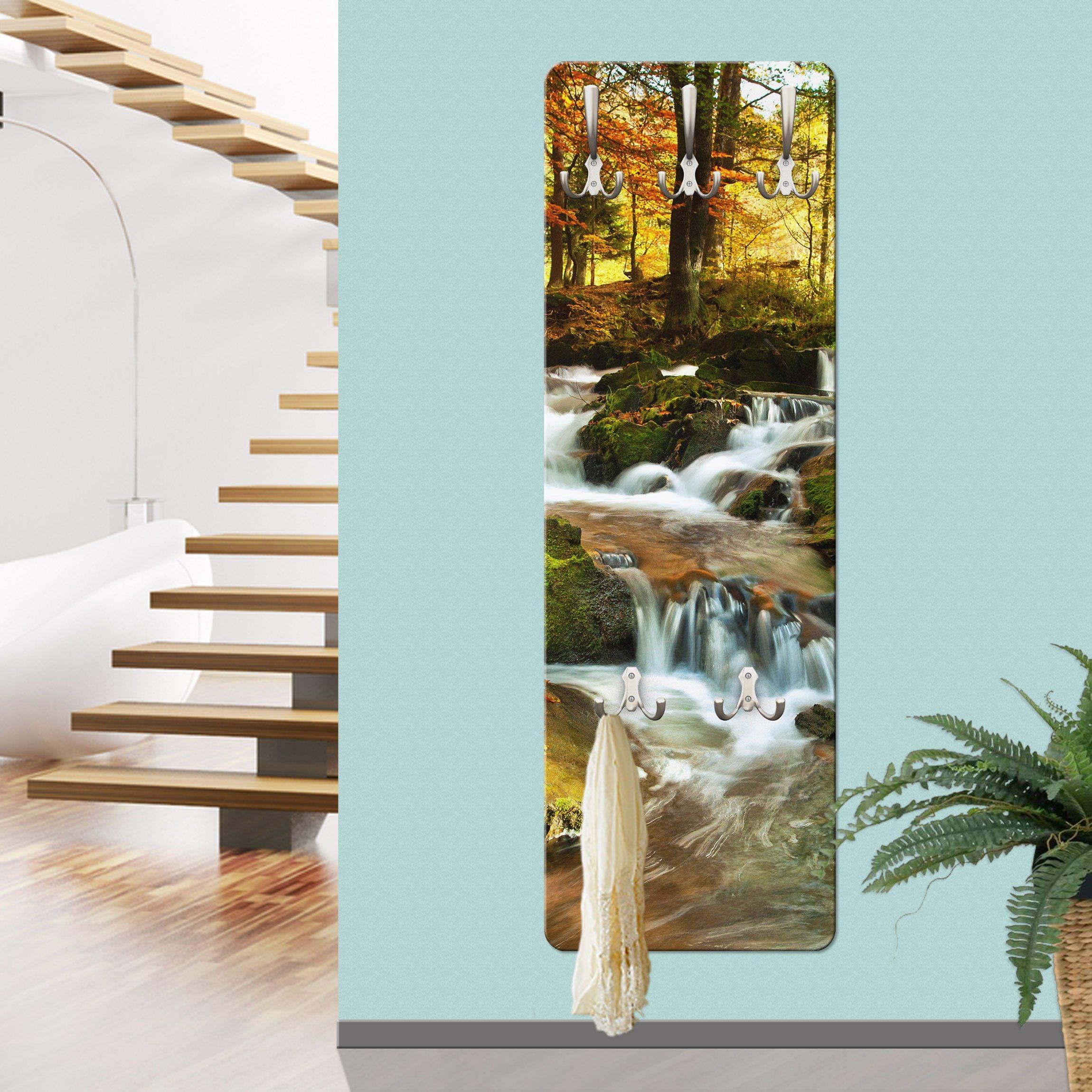 Bilderwelten Wandgarderobe »Wasserfall herbstlicher Wald« | Flur & Diele > Garderoben > Garderobenhaken | Weiß - Matt | Holz - Faserplatte - Metall | Bilderwelten