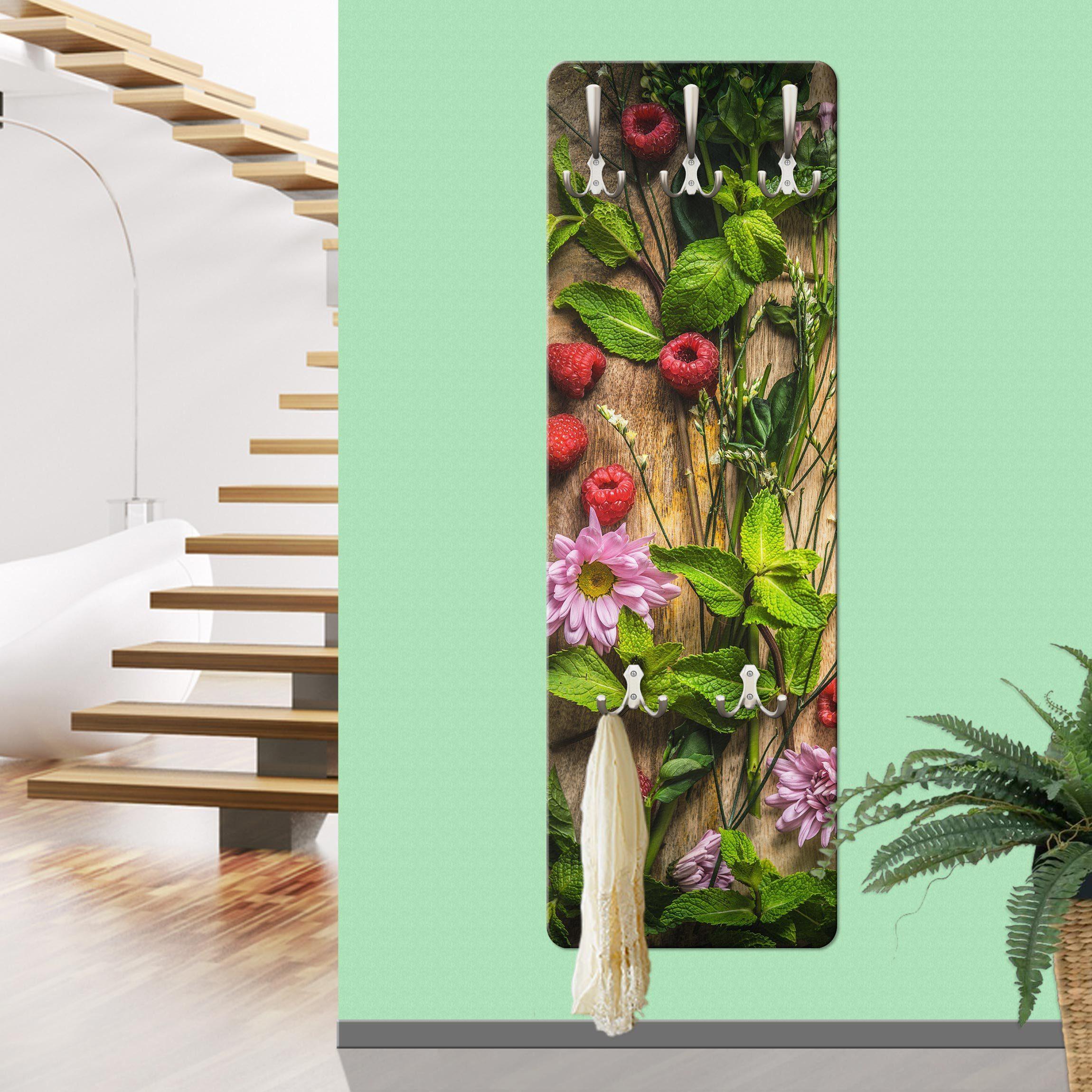 Bilderwelten Wandgarderobe »Blumen Himbeeren Minze«