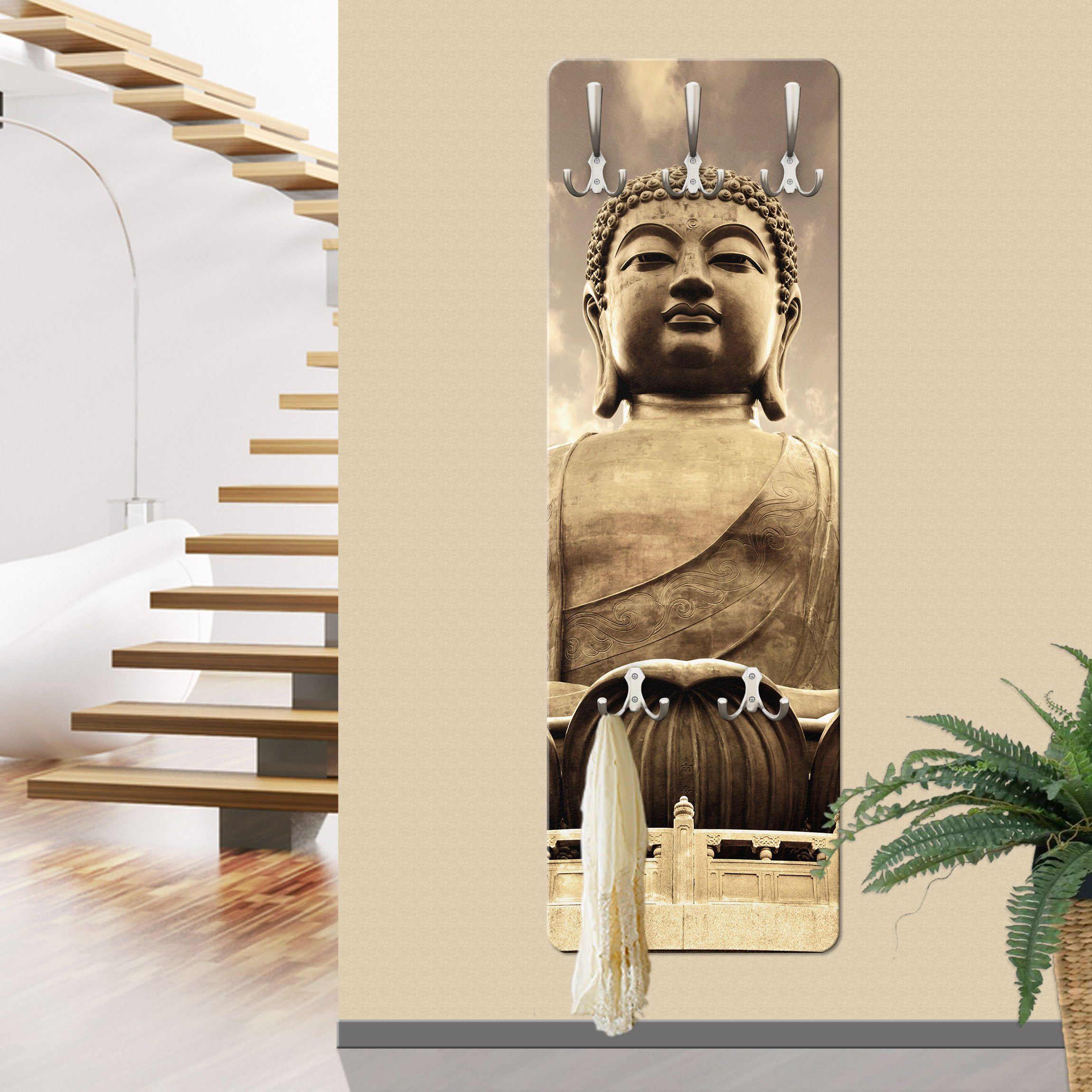 Bilderwelten Wandgarderobe »Großer Buddha Sepia«
