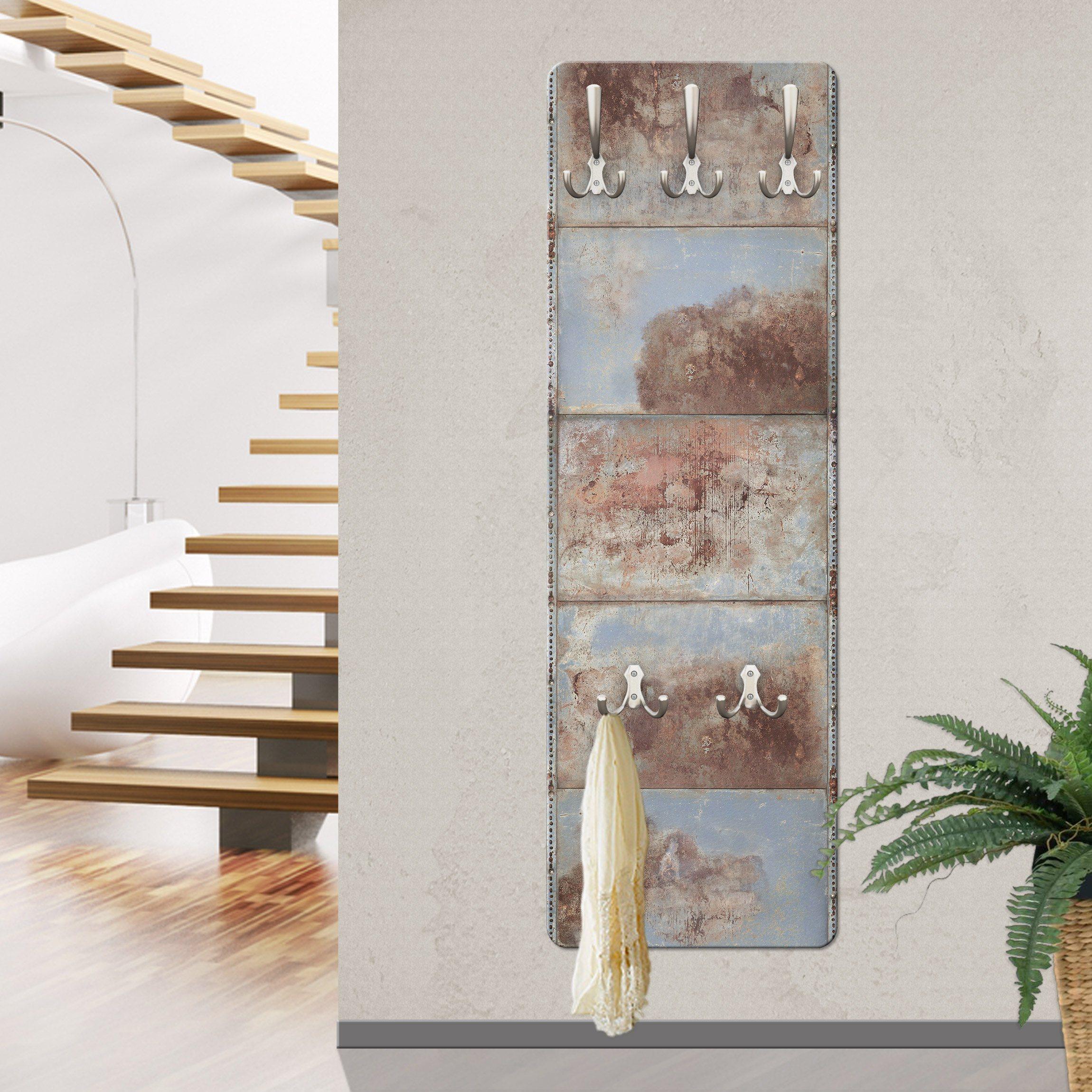 Bilderwelten Wandgarderobe »Shabby Industrial Metalloptik« | Flur & Diele > Garderoben > Garderobenhaken | Weiß - Matt | Holz - Faserplatte - Metall | Bilderwelten