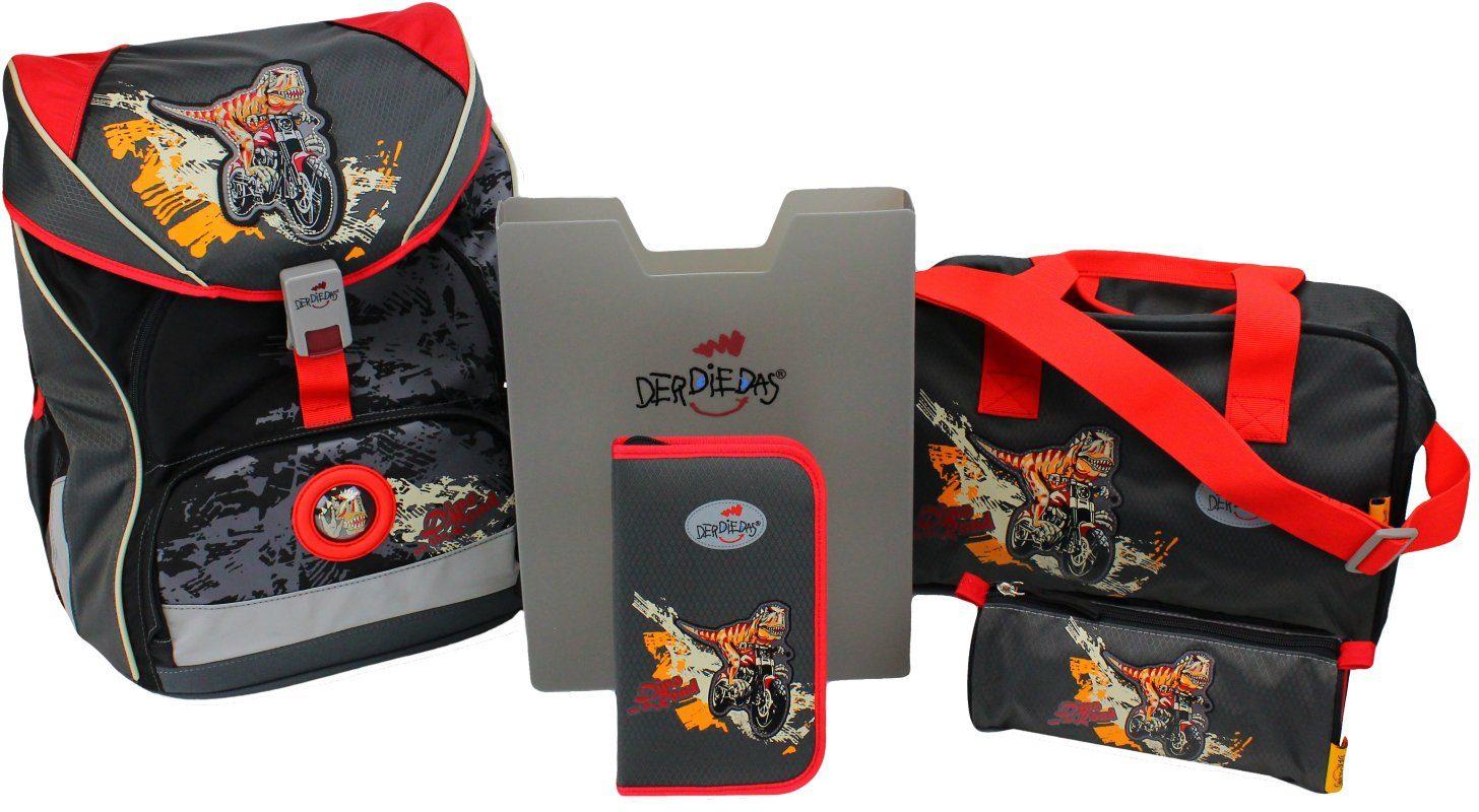 Der Die Das Schulrucksack Set (5tlg.), »Ergoflex XL, Dino on the road«