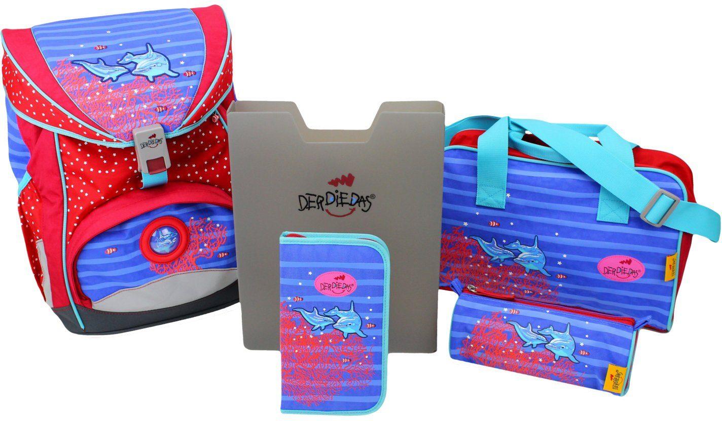 Der Die Das Schulrucksack Set (5tlg.), »Ergoflex, Dolphin«