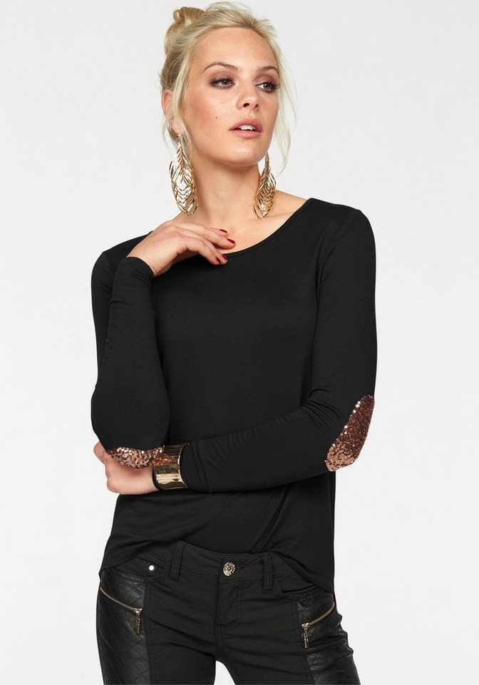 Melrose Langarmshirt mit Pailletten-Patches in schwarz
