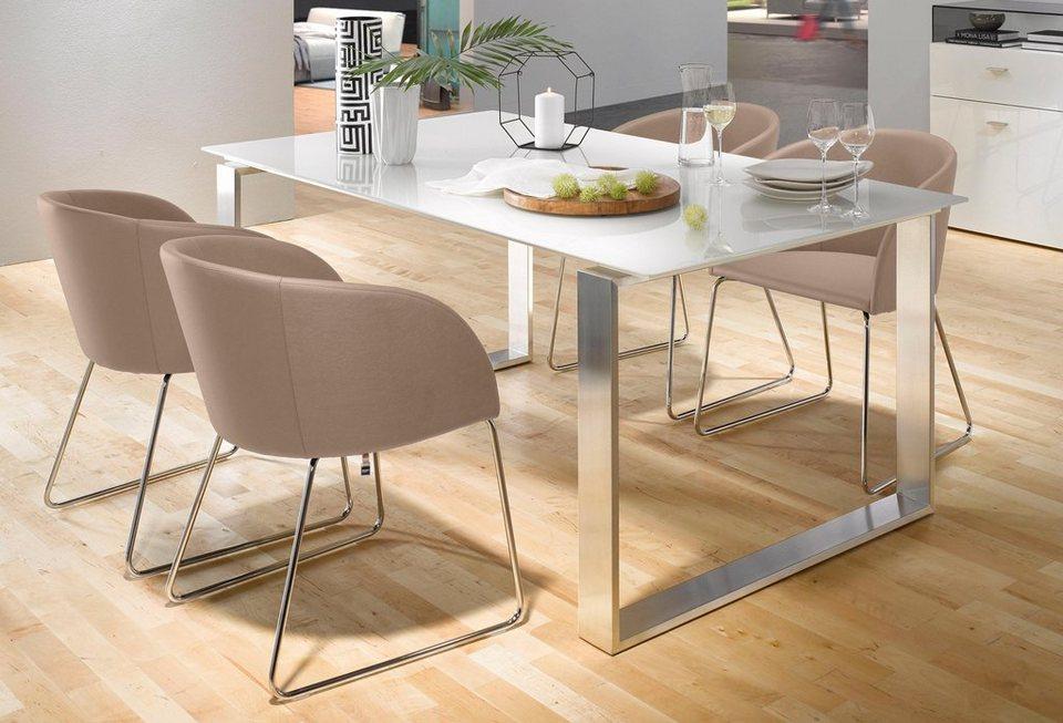 now by h lsta esstisch et19 in zwei breiten untergestell aus geb rstetem edelstahl online. Black Bedroom Furniture Sets. Home Design Ideas
