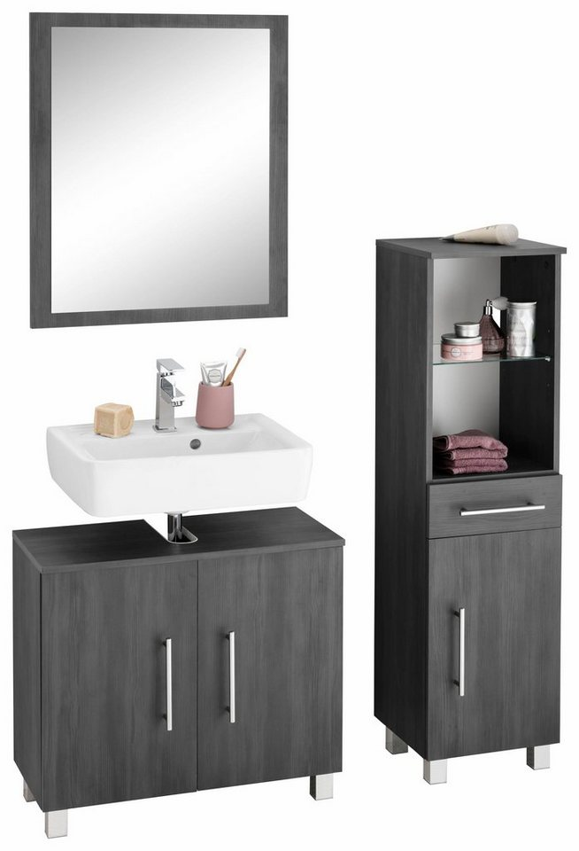 kesper badm bel set mainz 3 tlg mit metallgriffen online kaufen otto. Black Bedroom Furniture Sets. Home Design Ideas